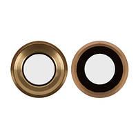 Стекло Камеры для Apple iPhone 6S с кольцом (Зототое)