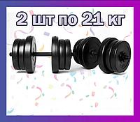 Комплект гантелей 2 шт по 21 кг наборные композитные для спорта и фитнеса