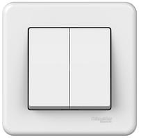 Выключатель двухклавишный белый Leona Schneider Electric