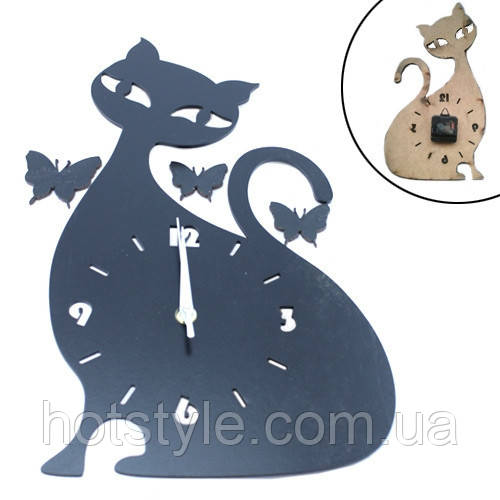 Часы настенные декоративные Элегантная Кошка 40см