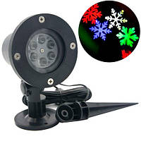 Лазерный проектор новогодний уличный Снежинки RGBW LED WL-602 садовый