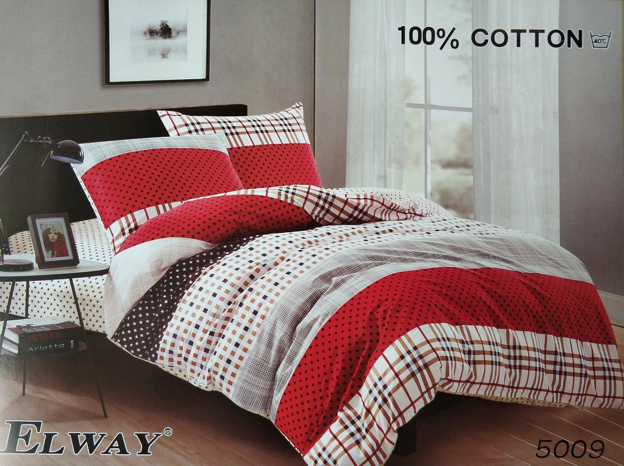 Сатиновое постельное белье полуторное ELWAY 5009 «Абстракция»