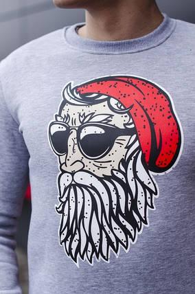 """Мужской новогодний свитшот Pobedov sweatshirts """"Santa boroda"""" серый, фото 2"""