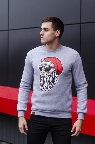 """Мужской новогодний свитшот Pobedov sweatshirts """"Santa boroda"""" серый"""