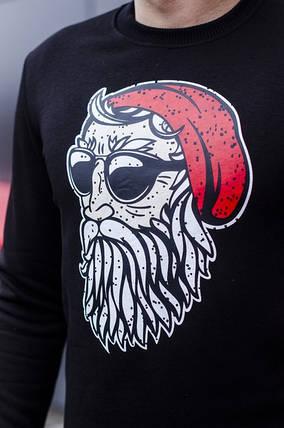 "Мужской новогодний свитшот Pobedov sweatshirts ""Santa boroda"" черный, фото 2"