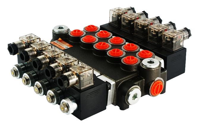 Электромагнитный гидрораспределитель Z50 12/24 В (пятисекционный), фото 2