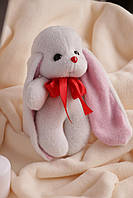 Белый заяц ушастик Биг с коротковорсового меха