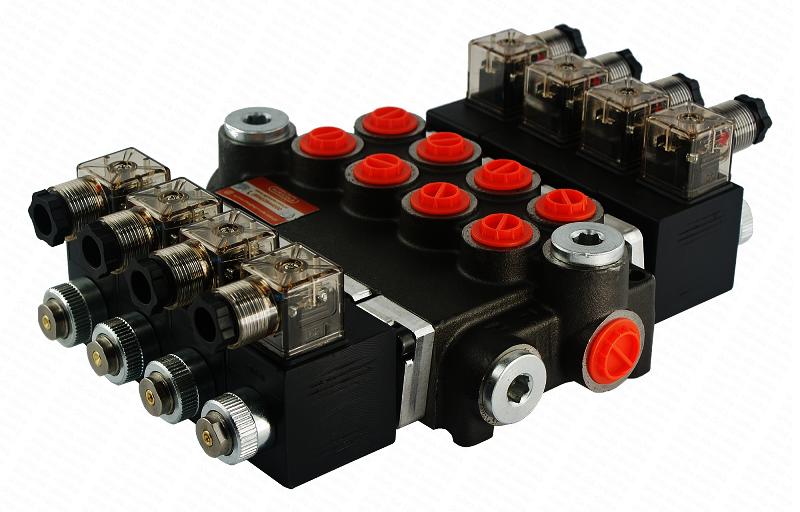 Электромагнитный гидрораспределитель Z80 12/24 В (четырехсекционный)