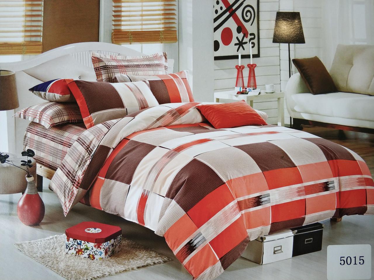 Сатиновое постельное белье полуторное ELWAY 5015 «Клетки и полоски»