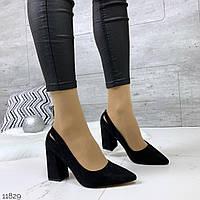 Женские замшевые туфли  чёрные на каблуках =MEDI=