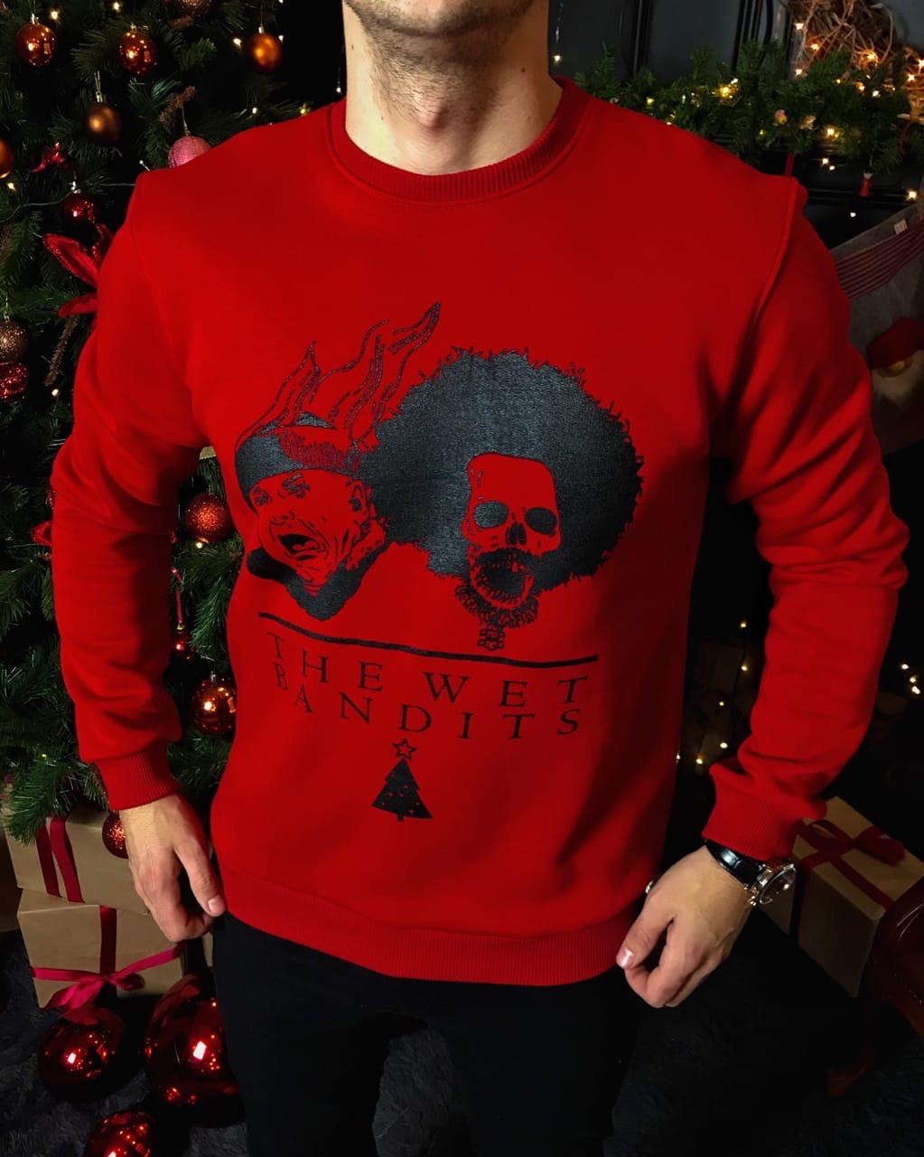Мужской новогодний свитшот красный