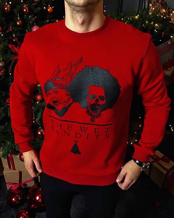 Мужской новогодний свитшот красный, фото 2
