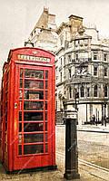 Фотообои на бумажной основе - Красная телефонная кабина (ширина -1,27)