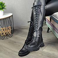 Сапоги высокие на шнуровке из натуральной кожи черного цвета