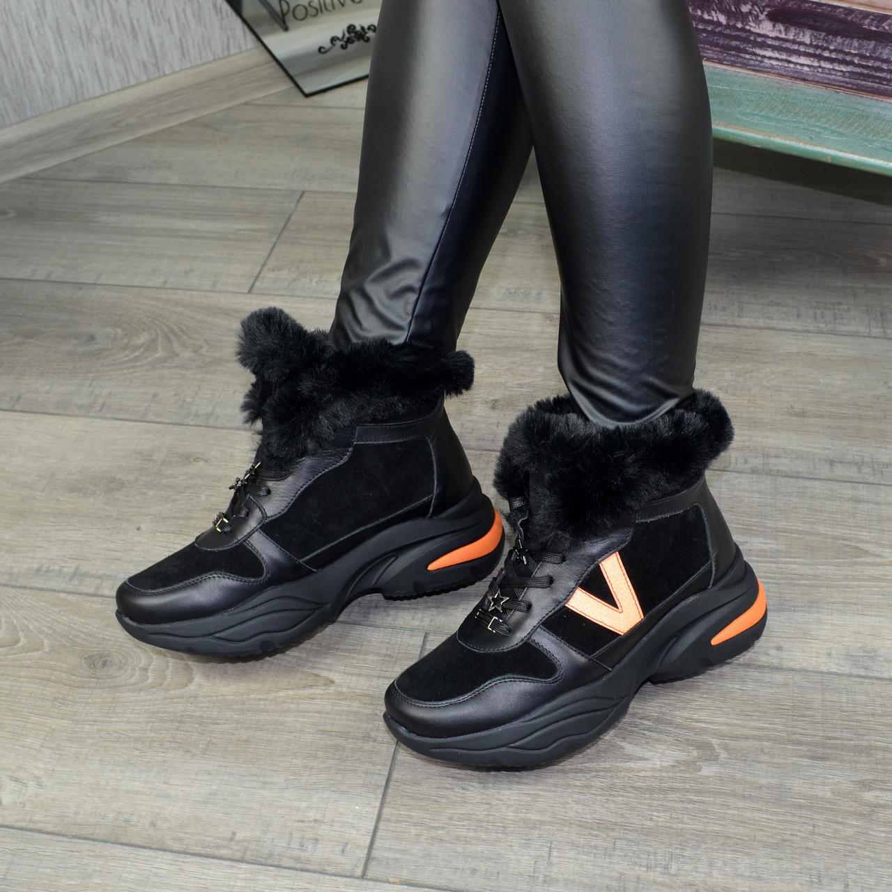 Ботинки женские в спортивном стиле из натуральной кожи и замши