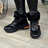 Ботинки женские в спортивном стиле из натуральной кожи и замши, фото 3