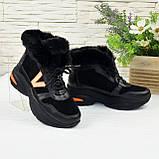 Ботинки женские в спортивном стиле из натуральной кожи и замши, фото 5