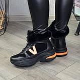 Ботинки женские в спортивном стиле из натуральной кожи и замши, фото 2