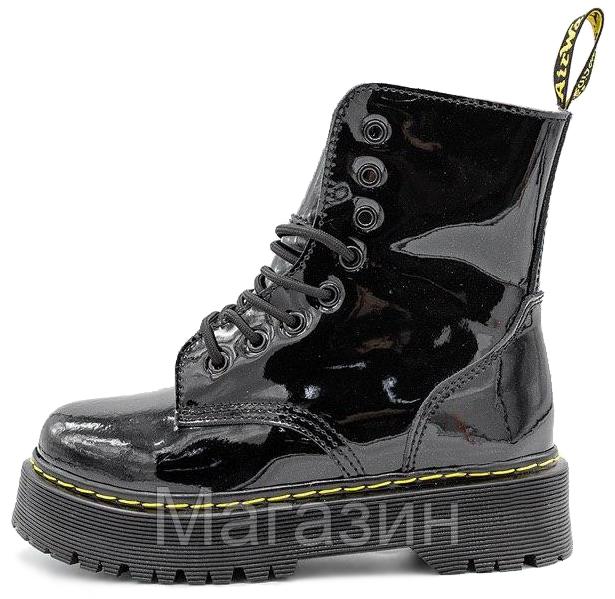 Зимние женские ботинки Dr. Martens Jadon Galaxy Black FUR лакированые Доктор Мартинс Жадон черные С МЕХОМ