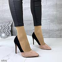 Женские замшевые туфли лодочки пудра с чёрным  на каблуках =MEDI=