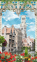 Фотообои на бумажной основе - Городок в арке с цветами(ширина -1,27)