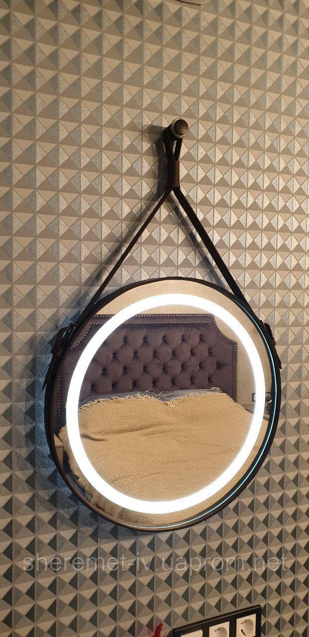 Зеркало,  зеркало с подсветкой,  зеркало в коже,  зеркало в кожаной оправе