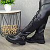 Сапоги высокие на шнуровке из натуральной кожи черного цвета, фото 3