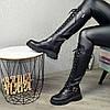 Сапоги высокие на шнуровке из натуральной кожи черного цвета, фото 4