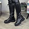 Сапоги высокие на шнуровке из натуральной кожи черного цвета, фото 5