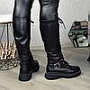 Сапоги высокие на шнуровке из натуральной кожи черного цвета, фото 6