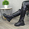 Сапоги высокие на шнуровке из натуральной кожи черного цвета, фото 8