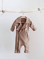 """Стильний дитячий комбінезон-косуха """"Vortex"""", колір пісочний. Розміри від 62 до 80, фото 1"""