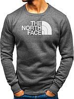 Мужской свитшот The North Face темно серый (большая белая эмблема) реплика