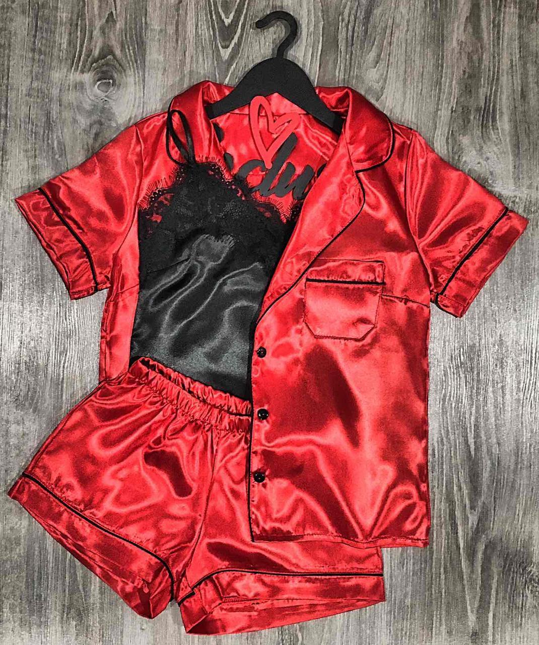 Красная пижама Рубашка и шорты + Черная классическая майка с кружевом. Атласный женский комплект.