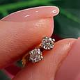 Золотые серьги с бриллиантами - Золотые серьги гвоздики с бриллиантами - Бриллиантовые пуссеты, фото 5