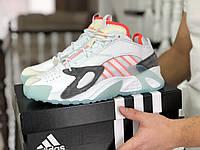 Мужские кроссовки Adidas Streetball (демисезонные, замша, белые с оранжевым)