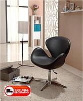 Кресло дизайнерское Сван черный экокожа, с газовым лифтом, Arne Jacobsen Swan Lounge Chair