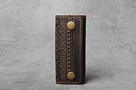 Ключница кожаная коричневая, орнамент Фолк, 4 карабина