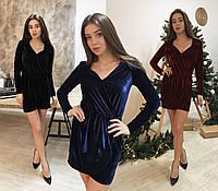 Нарядное бархатное платье с петлями на плечах /разные цвета, 42-46, ft-469/