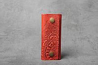 Ключница кожаная красная, орнамент Цветы, 4 карабина, фото 1