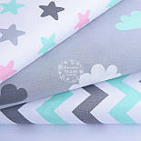 Лоскут ткани с мятными и белыми облаками на сером фоне, (№1157), фото 4