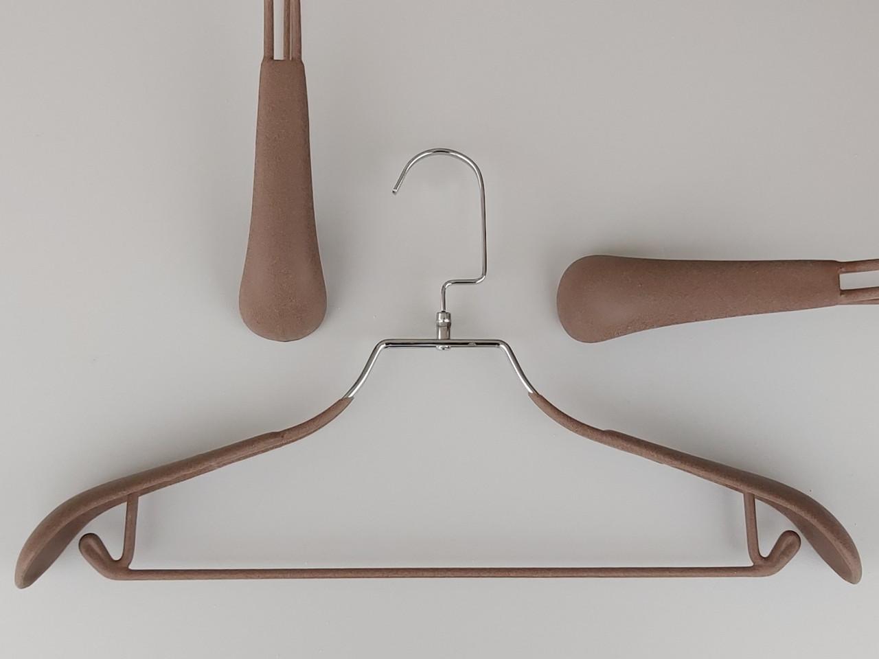 Плечики металлические в силиконовом покрытии широкие коричневого цвета, 44 см