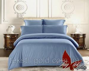 Евро комплект постельного белья Graphite страйп-сатин (Наволочки 4 шт) ТМ TAG