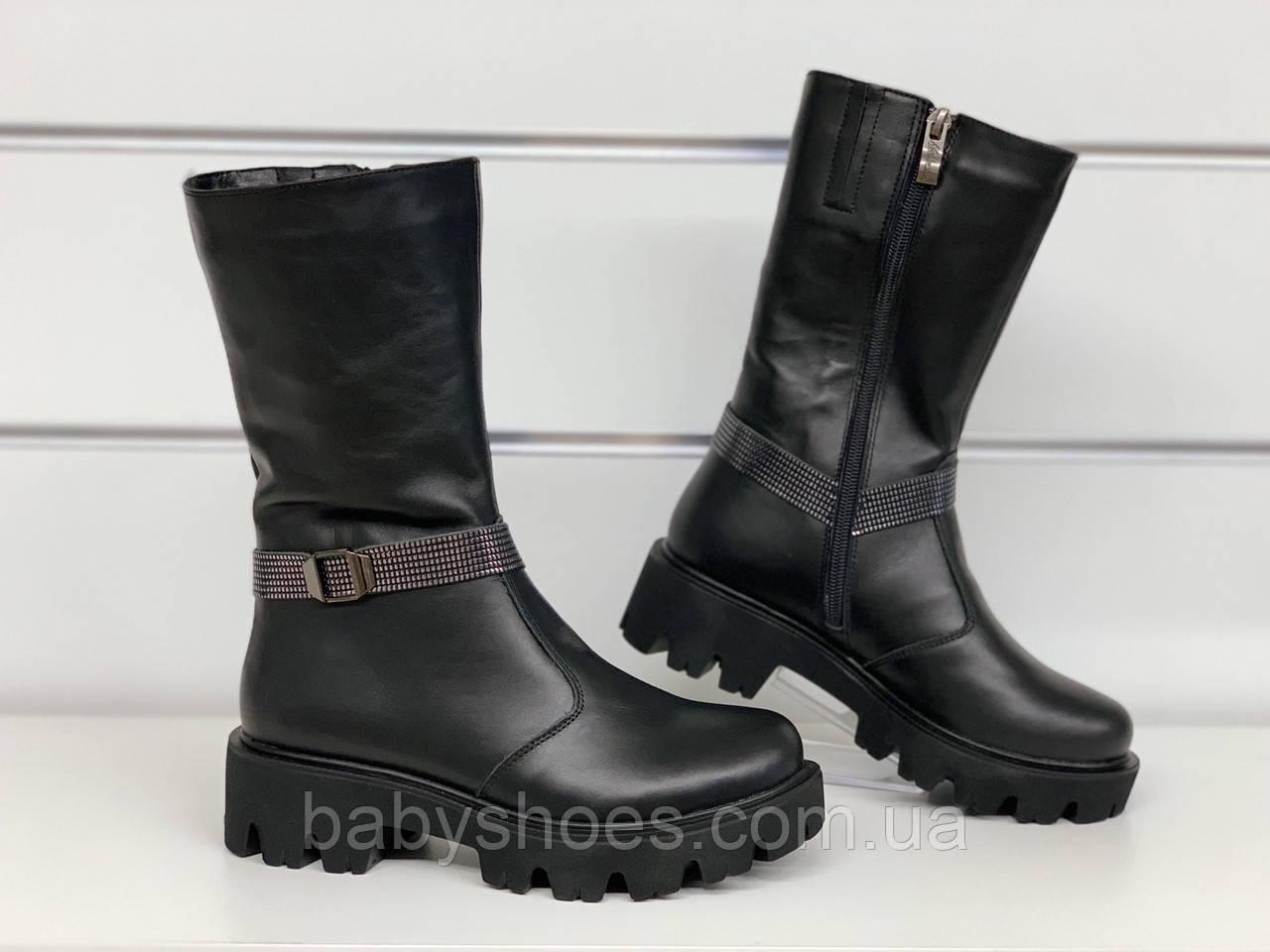 Зимние кожаные сапоги для девочки Masheros р.34-37