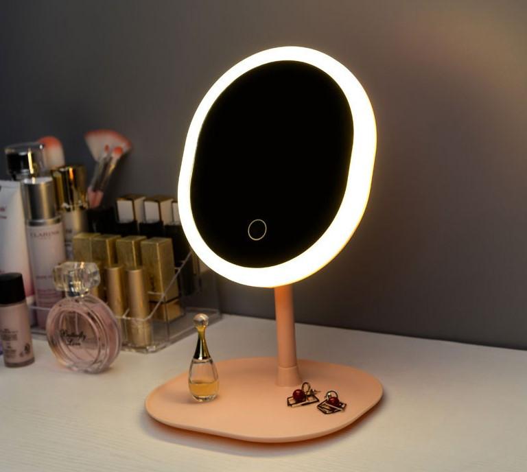 Светодиодное зеркало для макияжа с сенсорным управлением и  USB овальное Mirror Beauty