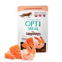 Optimeal для взрослых кошек с лососем и креветками в соусе 85г