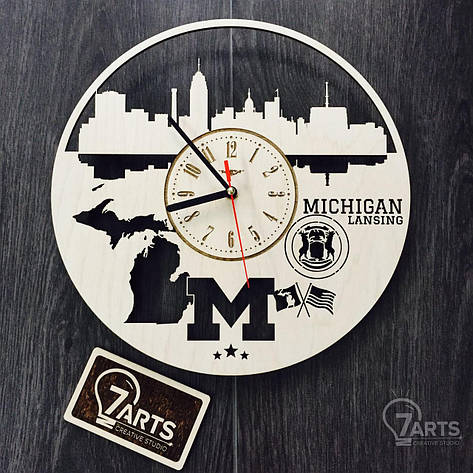 Дизайнерские часы на стену «Лансинг, Мичиган», фото 2