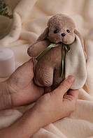 Коричневый заяц ушастик Мини с бантиком, фото 1
