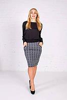 Теплая трикотажная юбка карандаш в клетку светло-серая, фото 1