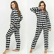 Пижама в клетку черно-белая байковая женская